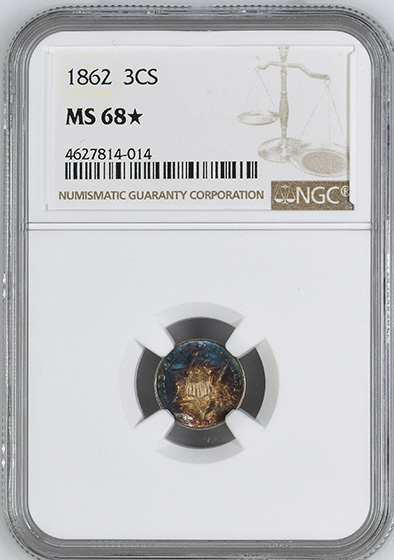 Picture of 1862 SILVER 3CS MS68+