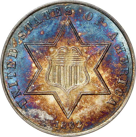 Picture of 1862 SILVER 3CS MS68