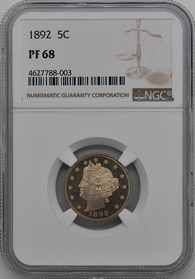 Picture of 1892 LIBERTY 5C PR68