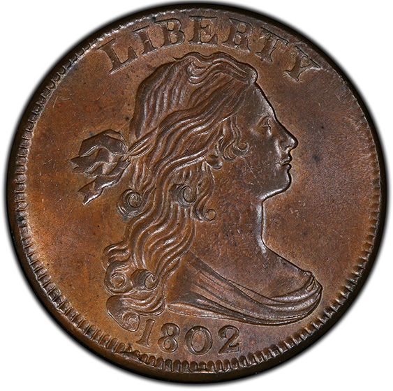 Picture of 1802 DRAPED BUST 1C MS64+ Brown