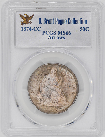 Picture of 1874-CC LIBERTY SEATED 50C, ARROWS MS66