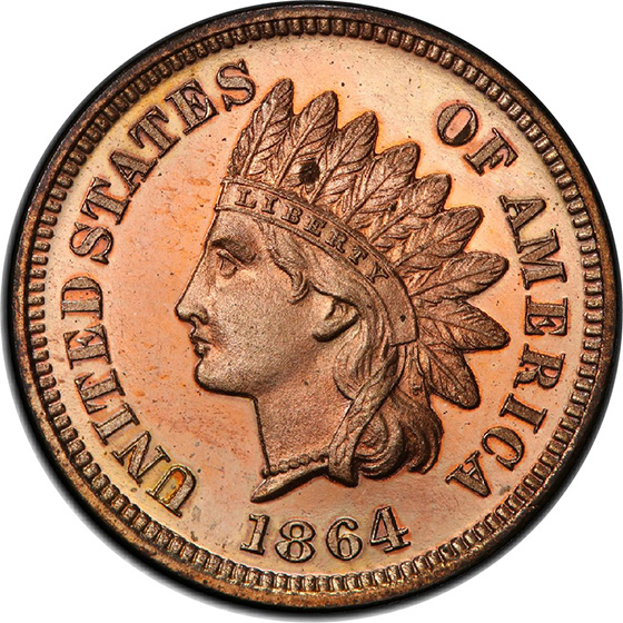 Picture of 1864 INDIAN BRONZE 1C, L ON RIBBON PR64+ Red