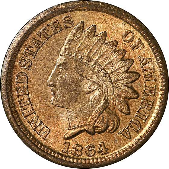 Picture of 1864 INDIAN BRONZE 1C MS67+ Red