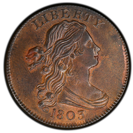 Picture of 1803 DRAPED BUST 1C, SMALL DATE, SM FRAC MS63 Brown