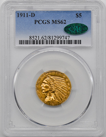 Picture of 1911-D INDIAN HEAD $5 MS62