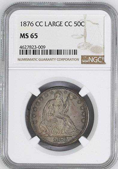 Picture of 1876-CC LIBERTY SEATED 50C, MOTTO MS65