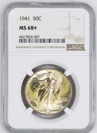 Picture of 1941 WALKING LIBERTY 50C MS68+