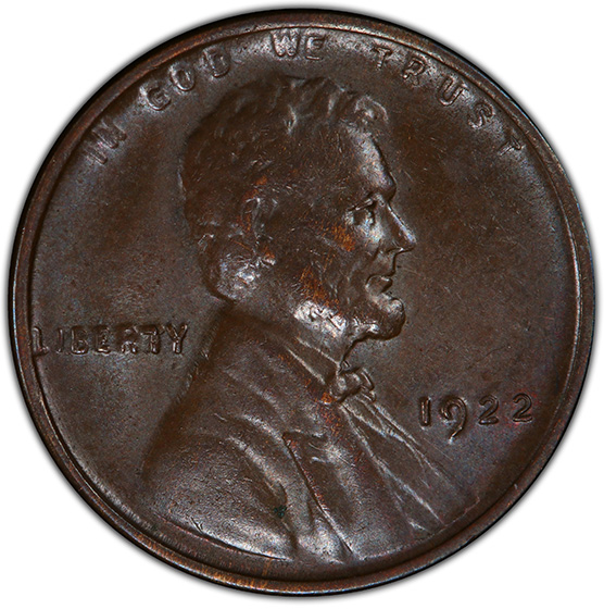 Picture of 1922 LINCOLN BRONZE 1C, STRONG REVERSE AU58 Brown