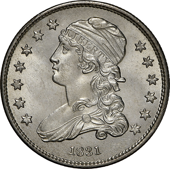 Picture of 1831 CAPPED BUST 25C, SMALL LETTERS MS65