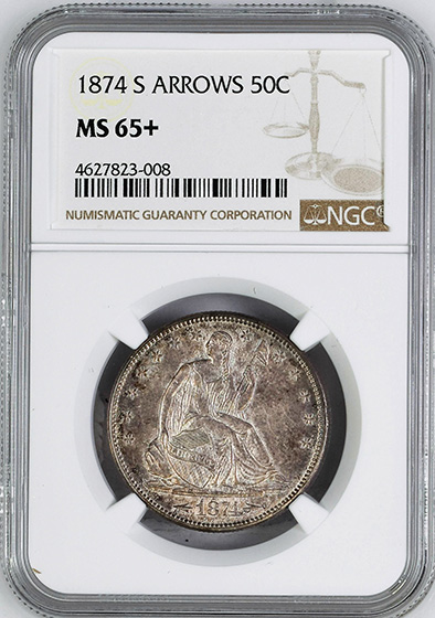 Picture of 1874-S LIBERTY SEATED 50C, ARROWS MS65+
