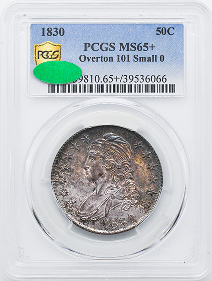 Picture of 1830 CAPPED BUST 50C, SMALL 0 MS65+
