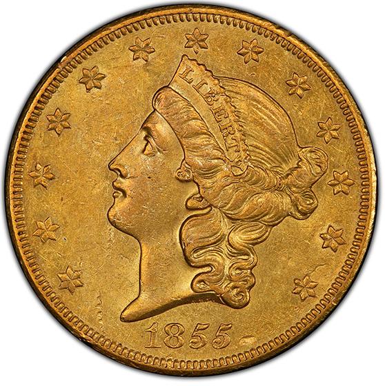 Picture of 1855-O LIBERTY HEAD $20 AU55