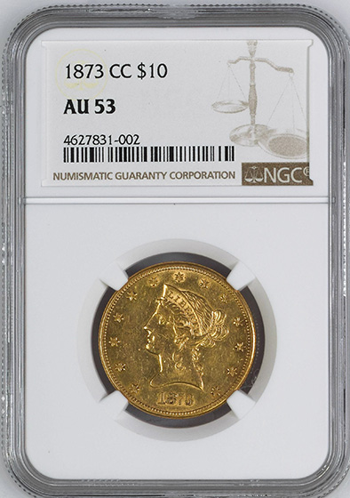 Picture of 1873-CC LIBERTY HEAD $10 MS53