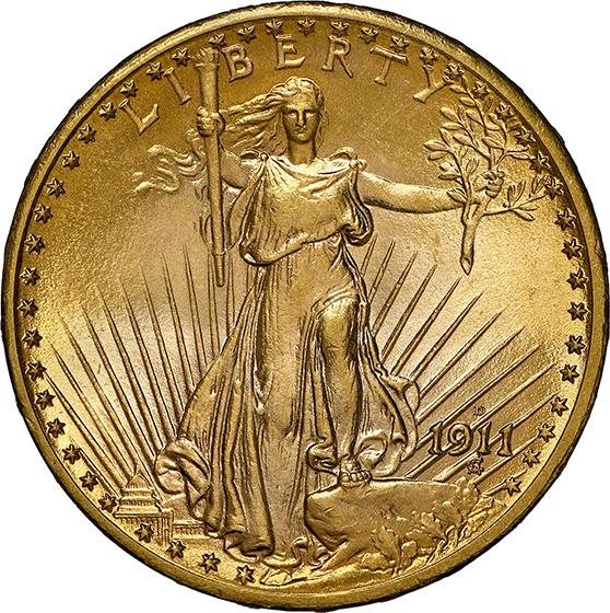 Picture of 1911-D/D ST. GAUDENS $20 MS67