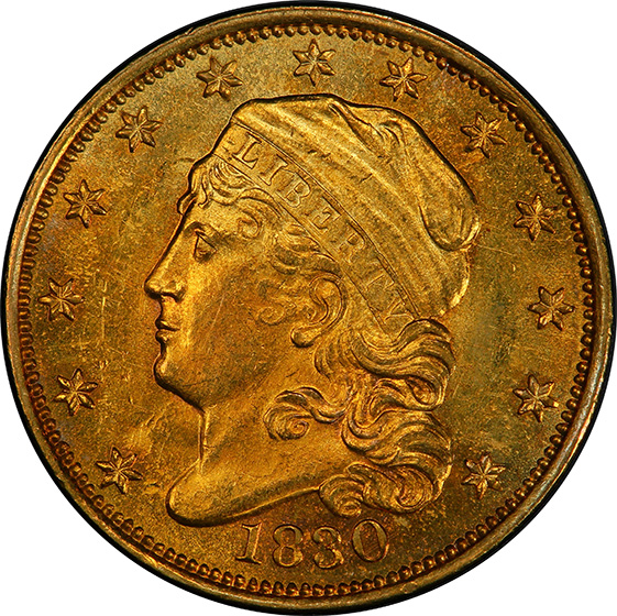 Picture of 1830 CAPPED BUST $2.5 MS63+