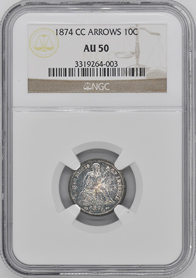 Picture of 1874-CC LIBERTY SEATED 10C, ARROWS AU50