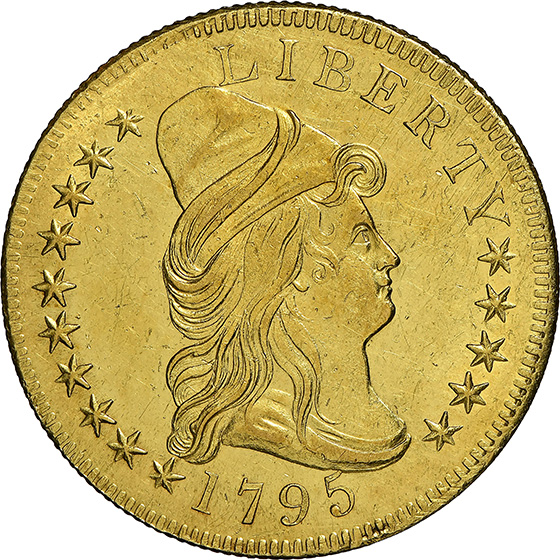 Picture of 1795 DRAPED BUST $10, 13 LEAVES, SMALL EAGLE MS61