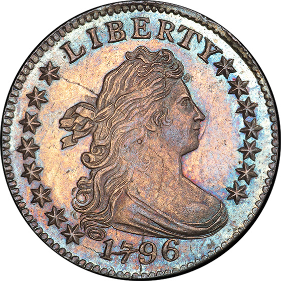 Picture of 1796 DRAPED BUST 10C, SMALL EAGLE MS65