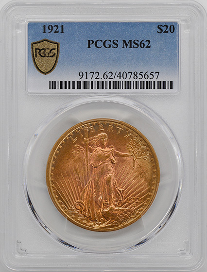 Picture of 1921 ST. GAUDENS $20 MS62