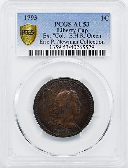 Picture of 1793 LIBERTY CAP 1C, LIBERTY CAP AU53 Brown