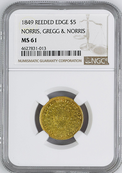 Picture of 1849 REEDED EDGE NORRIS GN $5 MS61