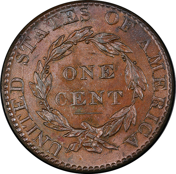 Picture of 1824/2 CORONET HEAD 1C MS63 Brown