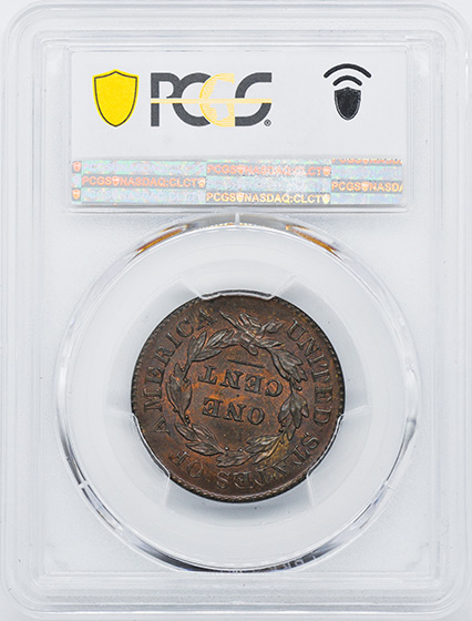 Picture of 1829 CORONET HEAD 1C, LARGE LETTERS MS66 Brown