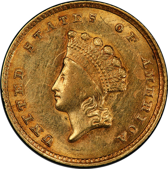Picture of 1855-C GOLD G$1, TYPE 2 MS60