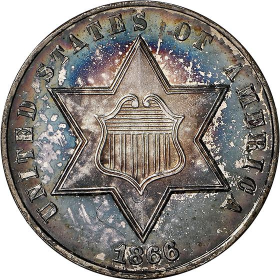 Picture of 1866 SILVER 3CS PR67 Cameo