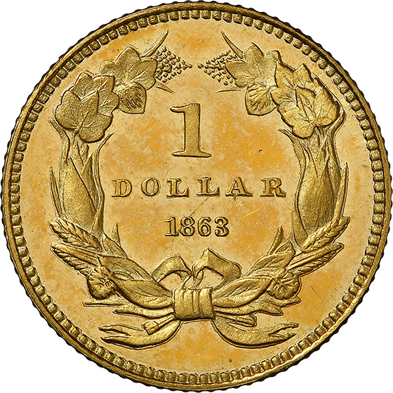 Picture of 1863 GOLD G$1, TYPE 3 PR67+ Deep Cameo