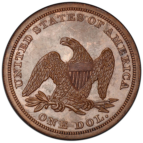 Picture of 1852 SEATED LIBERTY S$1, J-134RES PR64 Brown
