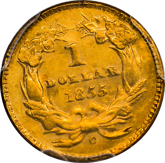 Picture of 1855-C GOLD G$1, TYPE 2 AU53