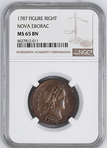 Picture of 1787 NOVA EBOR, SEATED RT COPPER MS65 Brown