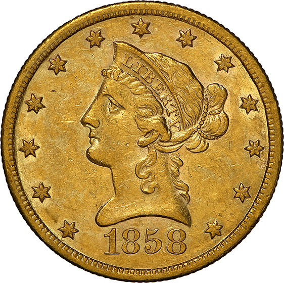 Picture of 1858-S LIBERTY HEAD $10 AU58