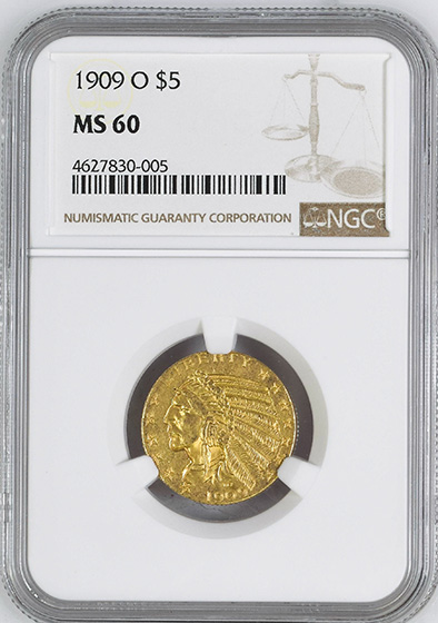 Picture of 1909-O INDIAN HEAD $5 MS60