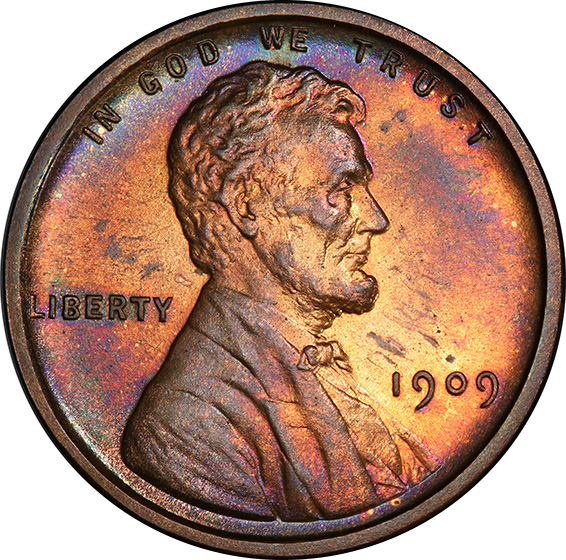 Picture of 1909 VDB LINCOLN MATTE 1C, VDB PR65 Red Brown