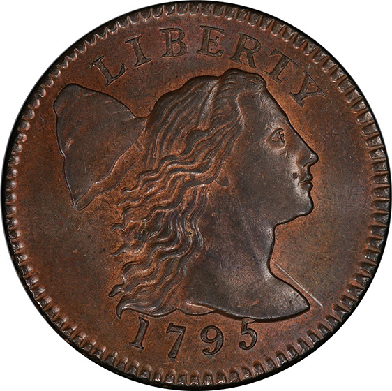 Picture of 1795 FLOWING HAIR LARGE 1C, LETTERED EDGE MS65+ Red Brown