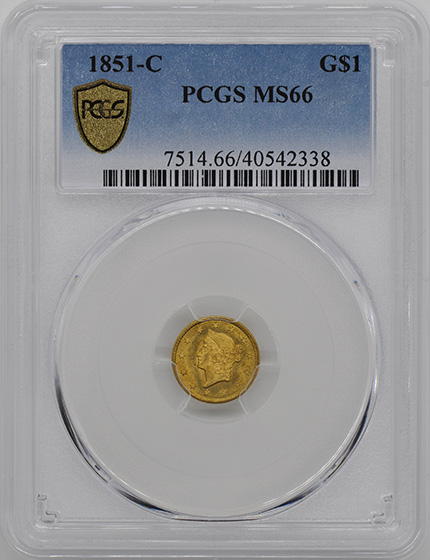 Picture of 1851-C GOLD G$1, TYPE 1 MS66