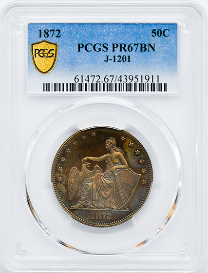 Picture of 1872 50C J-1201 PR67 Brown