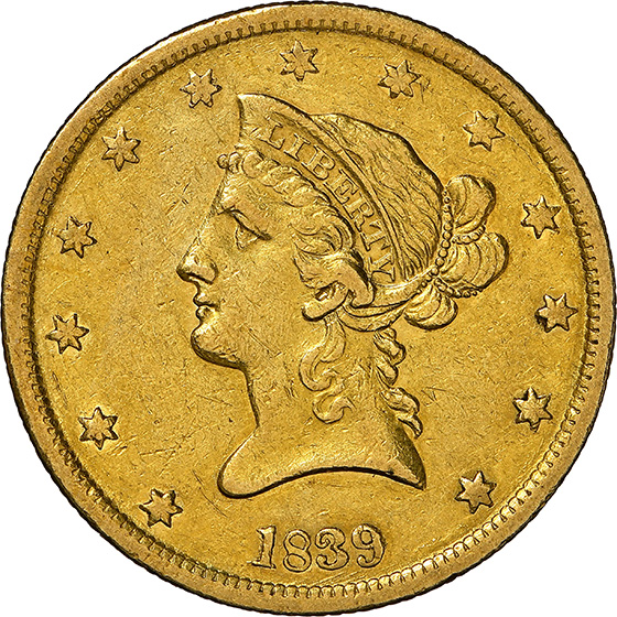 Picture of 1839 LIBERTY HEAD $10, TYPE OF 1840 AU55