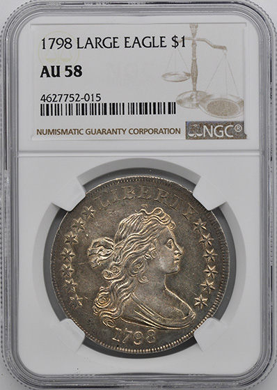 Picture of 1798 DRAPED BUST $1, LARGE EAGLE AU58