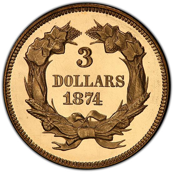 Picture of 1874 INDIAN PRINCESS $3 PR66 Deep Cameo