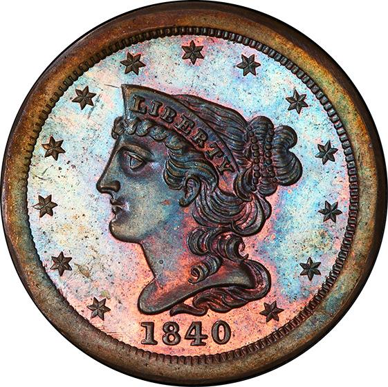 Picture of 1840 BRAIDED HAIR 1/2C, RESTRIKE PR64 Brown