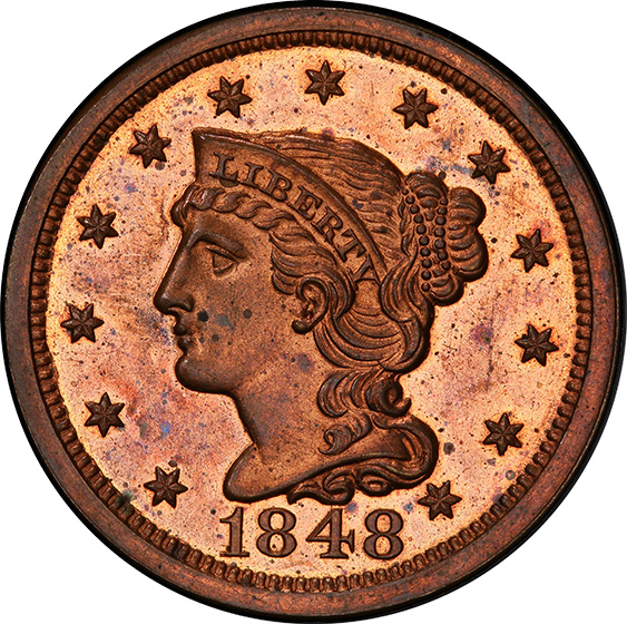 Picture of 1848 BRAIDED HAIR 1C PR64 Red Brown