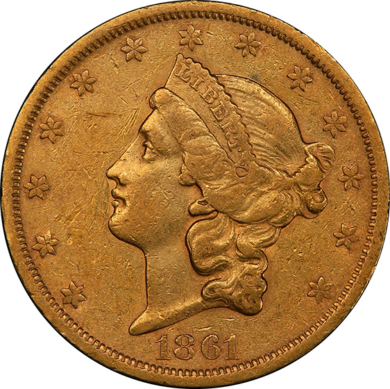 Picture of 1861-S LIBERTY HEAD $20, PAQUET AU50