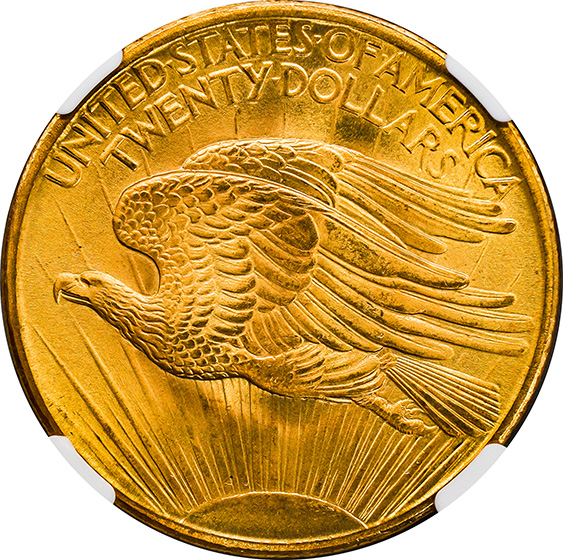 Picture of 1907 ST. GAUDENS $20, SAINT MS67+
