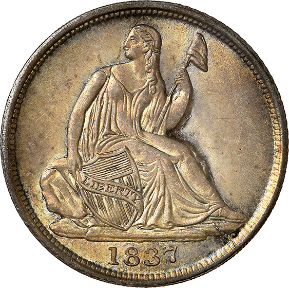 Picture of 1837 LIBERTY SEATED H10C, NO STARS, SMALL DATE MS67+