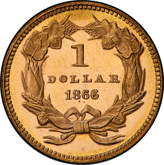Picture of 1866 GOLD G$1 MS67+ Proof Like