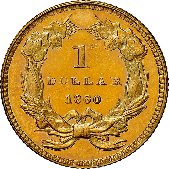 Picture of 1860 GOLD G$1, TYPE 3 PR66 Cameo