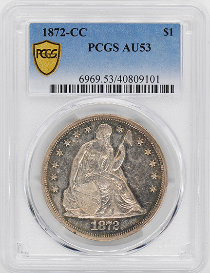Picture of 1872-CC LIBERTY SEATED S$1, MOTTO AU53